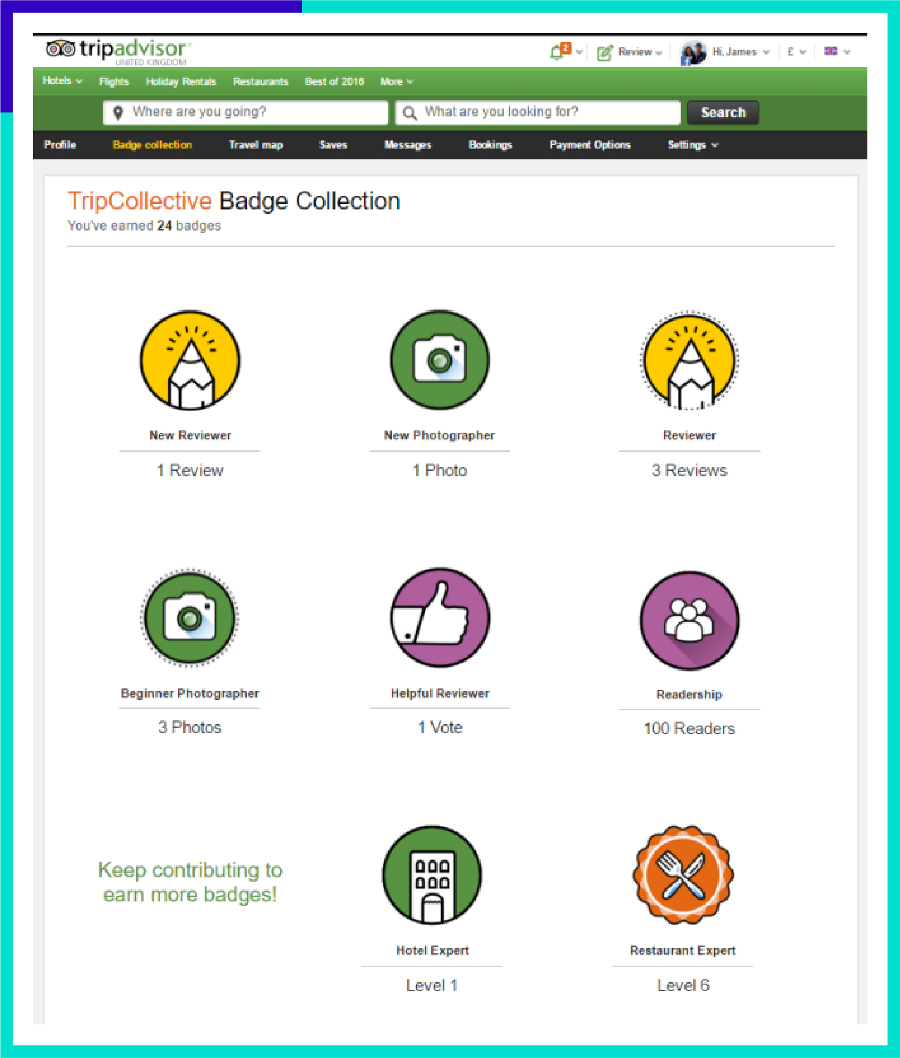 Example of Tripadvisor gamified badges reward system