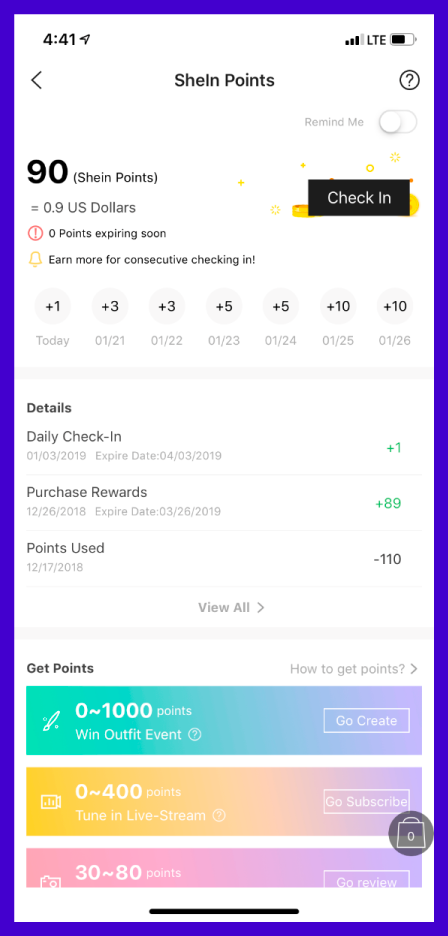 Shein points system as an example of gamification for E-commerce