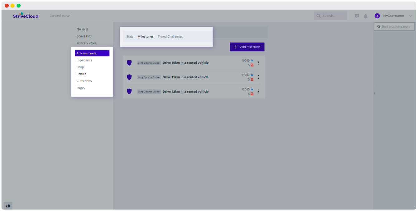 Manage all digital products from one control panel in the plug-in gamification tool
