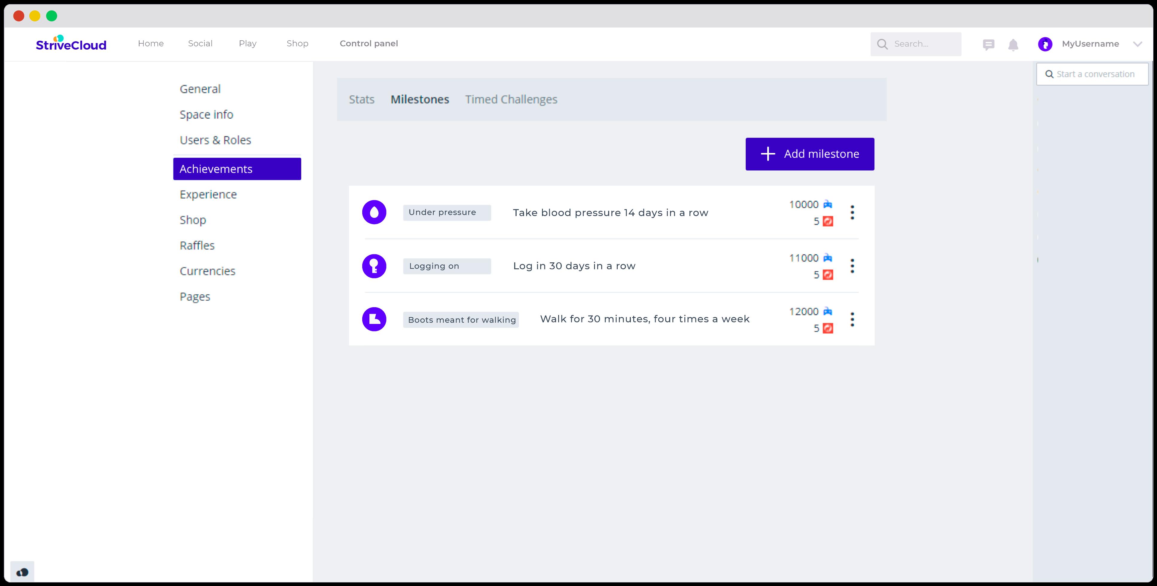 StriveCloud Achievements & Milestones example